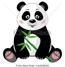 cute panda clipart. Simple Panda Sitting Cute Panda With Bamboo Isolated On White Background  Csp15022403 For Cute Panda Clipart