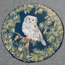 owl rug cropped bird area claire murray hand hooked winter rustic decor pebble green rugs red yellow colorful cowhide botanical flower sun