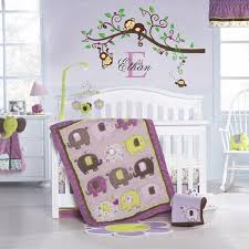 girl and boy jungle monkey wall decal vinyl nursery wall decor with name initial and owl