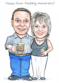 scottish silver wedding anniversary by aberdeen caricature artist rms ilrations plain background caricatures