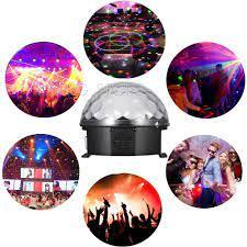 Đèn chớp nháy theo nhạc tự xoay 7 màu, hình quả cầu pha lê mini, đèn led  nháy thông minh