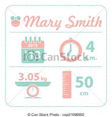 Announcement For Baby Girl Baby Girl Announcement Birth Card Vector