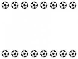 サッカーボールの上下フレーム飾り枠イラスト 無料イラスト かわいい