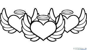 Coloring Pages With Hearts V3812 Coloring Pages Of Hearts With Wings
