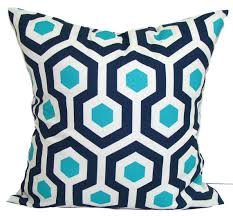 BLUE OUTDOOR PILLOWS Navy Blue Pillow Cover Turquoise Decorative