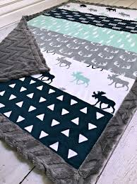 Best 25+ Baby boy quilts ideas on Pinterest | Baby quilts for boys ... & Moose Baby Blanket - Designer Faux Quilt Moose Minky - Charcoal Chevron Adamdwight.com