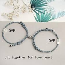 Amazon.co.jp: 1 Pair Braided <b>Couple</b> Magnetic <b>Bracelets</b>, <b>Couple</b> ...