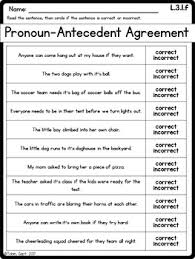 Pronoun Antecedent Agreement L 3 1 F Subject Verb Agreement And Pronoun Antecedent Agreement Tpt