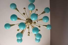 brass half sputnik turquoise blue murano glass globes chandelier for