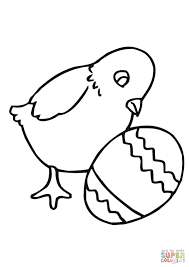Easter Chick With Egg Coloring Page Free Printable Pages Throughout