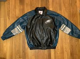 philadelphia eagles faux leather jacket nfl coat size l mens giii rare champions