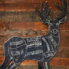 Rustic Deer Butcher Shop Sign Venison Meat Chart Butcher Diagram Meat Cuts Kitchen Wall Art Hunting
