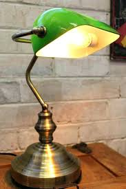 desk lamp with green glass sha vintage