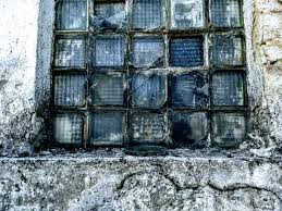 blue glass shattered architecture vintage old broken weathered warehouse glass brick brick wall window decay water