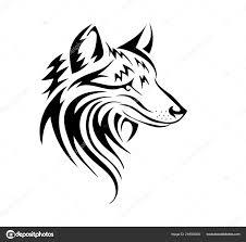 Obrázek Vlk Podobě Tetování Bílém Pozadí Stock Vektor