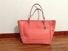358 NWT COACH SAFFIANO LARGE LEATHER CITY EAST WEST TOTE PURSE BAG 23822  CORAL