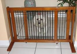 standing dog wood gate with metal bars