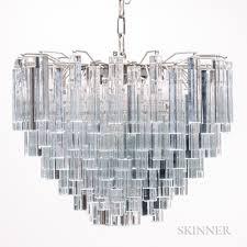 venini three tier chandelier with murano glass prisms