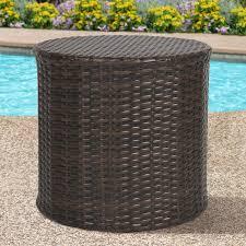 best choice s outdoor wicker rattan barrel side table patio furniture garden backyard pool
