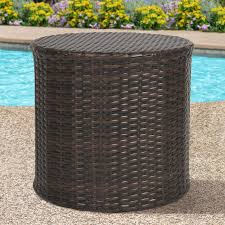 best choice s outdoor wicker rattan barrel side table patio furniture garden backyard pool com