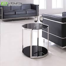 black tempered glass round side table