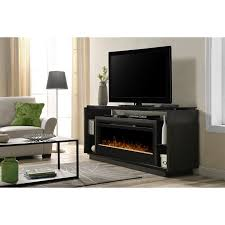 bowery hill glass ember bed electric fireplace tv stand in smoke
