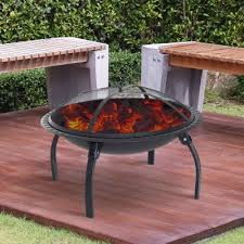 outsunny 28inch round firepit backyard folding fireplace patio stove with and spark screen