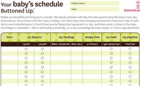 Free Printable Babys Schedule Form Buttoned Up