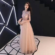 <b>It's YiiYa Evening Dresses</b> Pink Shinig Sequined Tiered Design ...