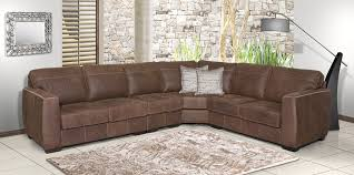 1123 top grain buffalo leather sectional in colorado clay brown