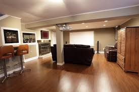 ... Simple And Neat Ideas For Finished Basement Decoration Design :  Contemporary Living Room Basement Decoration Using ...