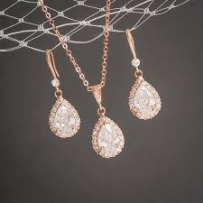 full set teardrop pendant. Rose Gold Wedding Jewelry SET, Crystal Bridal Set, Earrings, Pendant Necklace, CZ Teardrop CELENA Full Set A