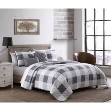 buffalo plaid 7 piece gray and white