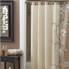 beige fl shower curtains sets for bathroom with brown cabinets