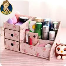 2016 new diy makeup organizer wooden storage box multifunction office supplies jewelry box red pink blue organizer for cosmetics in storage bo bins