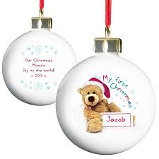 Personalised Teddy My First Christmas Bauble: Amazon.co.uk: Kitchen & Home