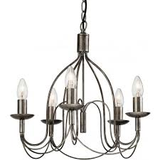 regency 5 light chandelier in an antique silver finish