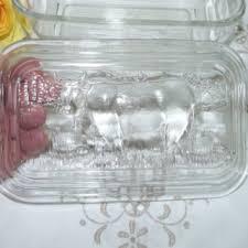 arc france glass er dish cow motif lidded er dish cou