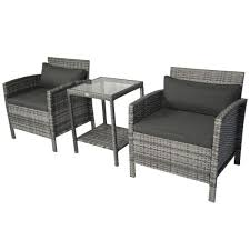 outsunny grey 3 piece steel plastic