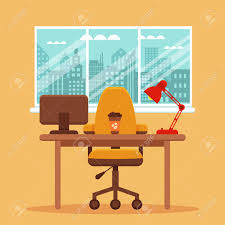 colored office chairs. Vector - Colorful Office Desk Illustration. Work Interior Design Elements Computer, Lamp Chair. Workplace With Window And City Colored Chairs