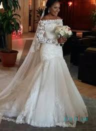 h1001 romance off the shoulder lace long sleeves mermaid wedding