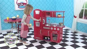 Cuisine En Bois Pour Enfants Vintage Rouge Kidkraft Youtube