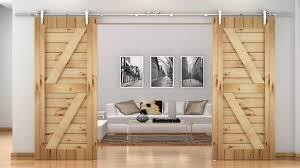 frozen glass sliding barn doors hanging on black iron rails