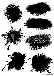 Set Of Blots Of Different Shapes Black Blots Collection Brush Set