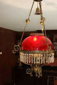 antique red brass crystal chandelier