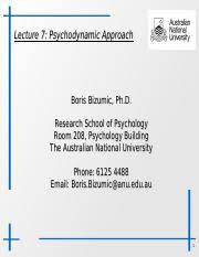 Psychodynamic Approach Course Outline 2018 Pdf Lecture 7 Psychodynamic Approach