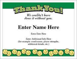 Thank You Certificate Softball Template Show Appreciation
