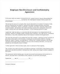 Employment Confidentiality Agreement Template Standard Non ...