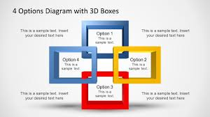 4 Options Diagram Template For Powerpoint With 3d Boxes