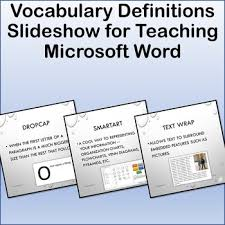Microsoft Word Vocabulary Vocabulary Definitions Slideshow For Teaching Microsoft Word Tpt